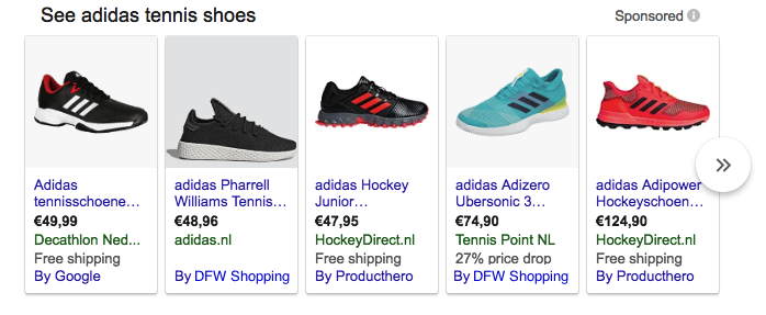 Google Shopping SERP with DFW CSS